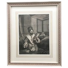 19th Century French Engraving of Ottoman Commander based on André Dutertre's Painting