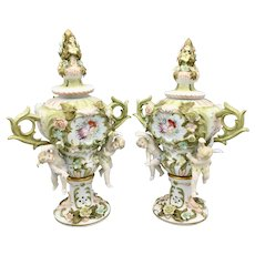 Antique German Sitzendorf Porcelain Voigt Brothers Potpourri Urns Cherubs and Flowers