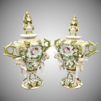 Antique German Sitzendorf Porcelain Voigt Brothers Potpourri Urns Cherubs and Flowers
