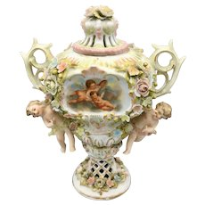 Antique German Sitzendorf Porcelain Voigt Brothers Potpourri Urn with Cherubs and Flowers