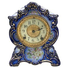 Antique Ansonia Blue Porcelain Mantle Clock Towanda Model Circa 1882