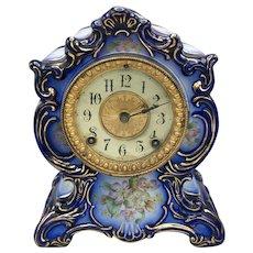 Antique 1882 Ansonia Blue Porcelain Mantel Clock Towanda Model