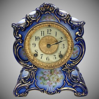 Antique 1882 Ansonia Blue Porcelain Mantel Clock Towanda Model