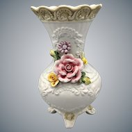 Capodimonte White Vase With Dimensional Roses