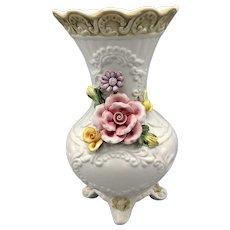 Capodimonte White Vase With Dimensional Roses