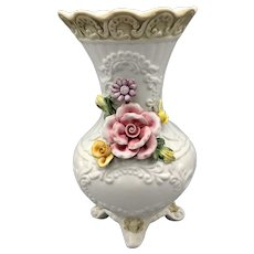 Vintage Capodimonte White Vase With Dimensional Roses