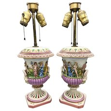 Pair of Capo di Monte Hand Painted Lamps with Dimensional Figures Early 1900s