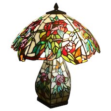 Vintage Leaded Stained Glass Table Lamp - Red Tag Sale Item