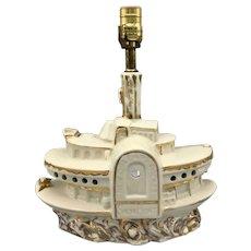 Vintage Lawrence Welk White Glazed Ceramic Lamp Boat Shape Circa 1950s