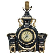 Vintage Lanshire Black Glazed Ceramic Clock Lamp circa 1950s