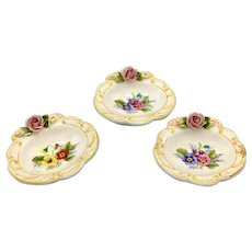 Kämmer and Kramer Porcelain Mini Desert Plates with Dimensional Roses circa 1940s