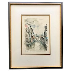 'La Vesdre Verviers' Watercolor Print by Dutch Artist Jan Korthals (1916-1972)