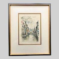 'La Vesdre Verviers' Aqua Print by Dutch Artist Jan Korthals (1916-1972)