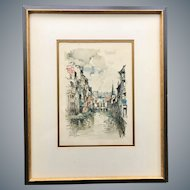 'La Vesdre Verviers' Watercolor Print by Dutch Artist Jan Korthals (1916-1972)