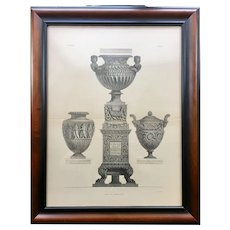 19th Century Lithographic Print of Giovanni Piranesi Engraving of Three Antique Vases with Pedestal
