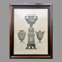 19th Century Print of Giovanni Piranesi Engraving Three Vases