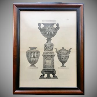 18th Century Giovanni Piranesi Framed Engraving of 3 Antique Vases with Pedestal