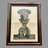 19th Century Lithographic Print of Giovanni Piranesi Engraving of Vase with Pedestal