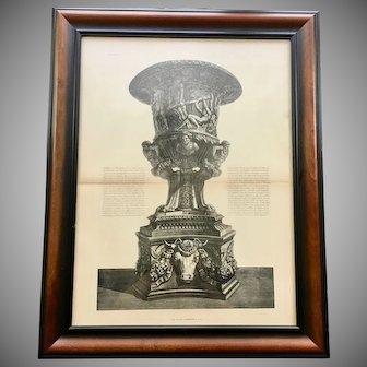 Antique Giovanni Piranesi Framed Engraving of Vase with Pedestal Antiquities
