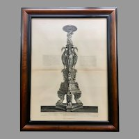 19th Century Lithographic Print of Giovanni Piranesi  Engraving of Antique Candelabra