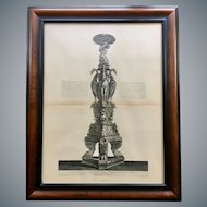 Antique Giovanni Piranesi Framed Engraving of Antique Candelabra Antiquities