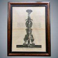 Antique Giovanni Piranesi Framed Engraving of Antique Candelabra Antiquities