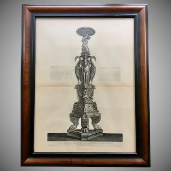 18th Century Giovanni Piranesi Framed Engraving of Antique Candelabra