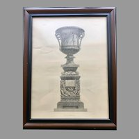 19th Century Lithographic Print of Giovanni Piranesi Engraving of Vase with Sculptures