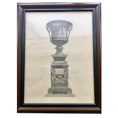 Antique Giovanni Piranesi Framed Engraving of Vase with Sculpture Antiquities