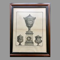 19th Century Lithographic Print of Giovanni Piranesi Engraving of Vases with Sculptures