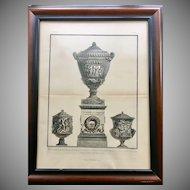 Antique Giovanni Piranesi Framed Engraving of Vases with Sculptures Antiquities