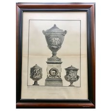 18th Century Giovanni Piranesi Framed Engraving of Antique Vases with Sculptures