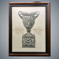 Antique Giovanni Piranesi Framed Engraving of Amphora Vase Antiquity