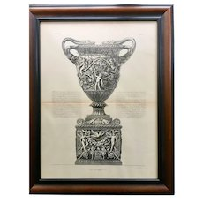 18th Century Giovanni Piranesi Framed Engraving of Antique Vase