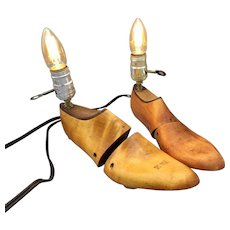 Vintage Wooden Florsheim Shoe Form Stretcher Lamps