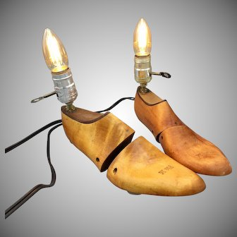 Vintage Wooden Florsheim Shoe Last Form Stretcher Lamps