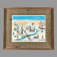Original Watercolor Painting of Winter Scene by Lilian Latal