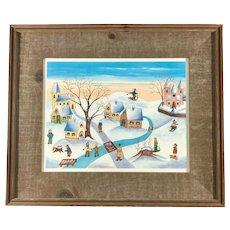 Winter Scene by Lilian Latal Original Signed Watercolor