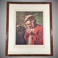 Color Lithograph after St. Andrews Caddie Painting by L.Earle Golf Collectible