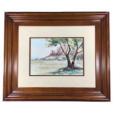 Watercolor Landscape by Charlotte Baklanoff Framed in Wood