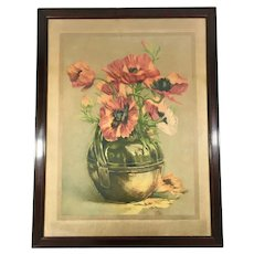 Antique Color Lithograph of Red Poppies by Gustave Fraipont (1849-1923)