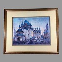 Anatole Krasnyansky Collotype 'Rostov Kremlin Blue Domes'