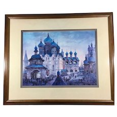 Collotype of Anatole Krasnyansky Painting 'Rostov Kremlin Blue Domes' Framed Signed and Authenticated