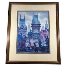 Anatole Krasnyansky Collotype 'Bridges of King Karl, Prague' Signed and Authenticated
