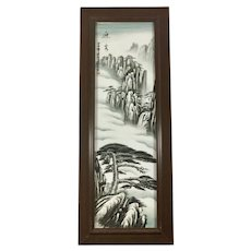 Chinese Hand Painted Artwork of Hushang on Framed Porcelain Tile Plaque Signed