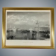 19th Century Engraving 'Venice The Dogana' by J.T. Willmore after W. M. Turner's Painting
