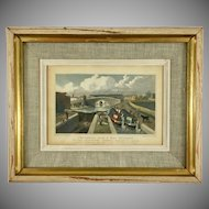 1827 Hand-Colored Engraving of London Scene F.H. Havell after T.H. Shepherd Painting
