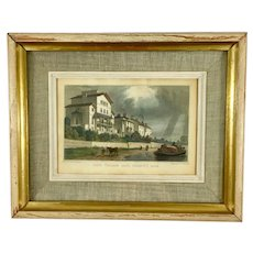 1827 Hand-Colored Engraving of London Scene W. Radcliff after T.H. Shepherd Painting