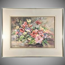 Original Fran Scully Watercolor Painting of Colorful Flowers Signed & Framed