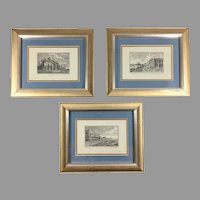 Three Vintage Lithographs of Venice by Edizioni Ponte Vecchio after Antonio Visentini Engravings